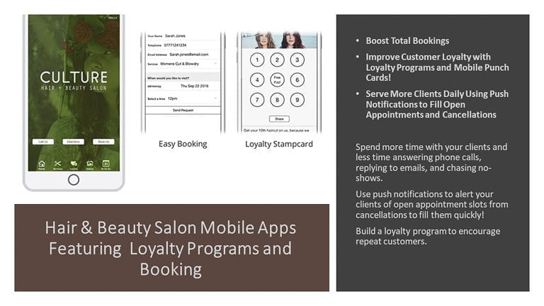 Hair & Beauty Salon Mobile Apps Featuring  Loyalty Programs and Booking